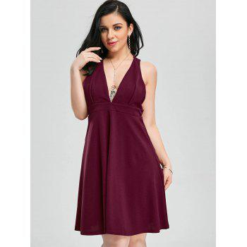 Plunging Neck Fit et Flare Cocktail Dress - Rouge vineux XL
