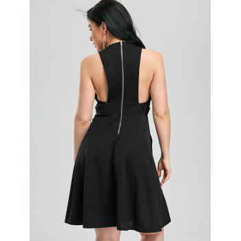 Plunging Neck Fit and Flare Cocktail Dress - BLACK BLACK