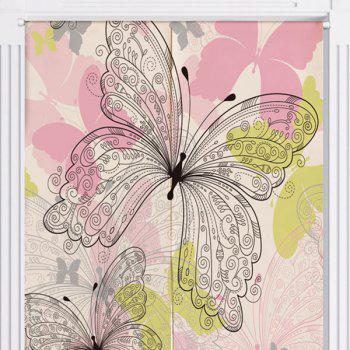 Cotton Linen Home Butterflies Printed Door Curtain - W33.5 INCH * L47 INCH W33.5 INCH * L47 INCH