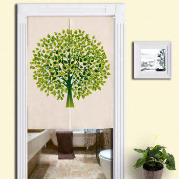 Home Product Tree Print Artistic Door Curtain - GREEN W33.5 INCH * L47 INCH