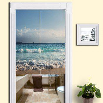 Cotton Linen Home Door Curtain with Sea Beach Print - BLUE W33.5 INCH * L47 INCH