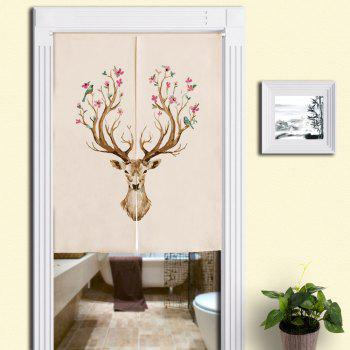 Cotton Linen Home Flower Deer Printed Door Curtain - COLORMIX W33.5 INCH * L35.5 INCH