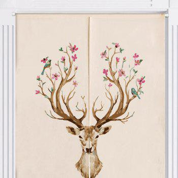 Cotton Linen Home Flower Deer Printed Door Curtain - W33.5 INCH * L47 INCH W33.5 INCH * L47 INCH