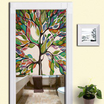 Artistic Colorful Tree Pattern Home Product Door Curtain - COLORFUL W33.5 INCH * L47 INCH