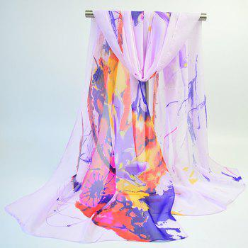 Lightsome Long Wash Painting Flowers Printed Scarf