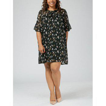 Plus Size Printed Pussy Bow Chiffon Mini Dress