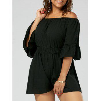 Plus Size Ruffled Off The Shoulder Chiffon Romper