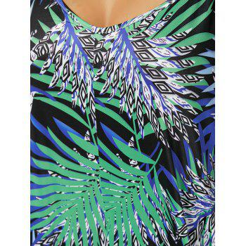 Plus Size Tropical Print Spaghetti Strap Baggy Jumpsuit - GREEN 2XL