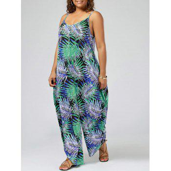 Plus Size Tropical Print Spaghetti Strap Baggy Jumpsuit