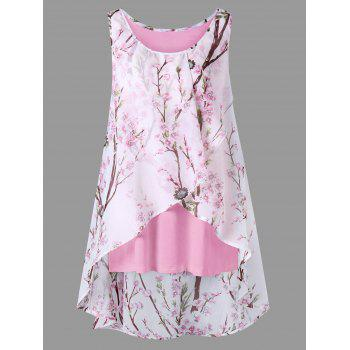 Plus Size Tiny Floral Overlap Sleeveless Top