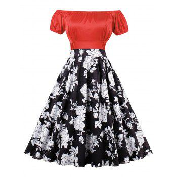 Empire Waist Floral Print Pin Up Dress