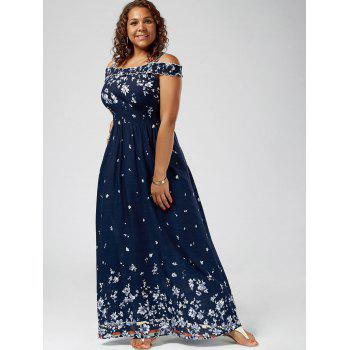 plus size floral print cold shoulder maxi dress, deep blue, xl in