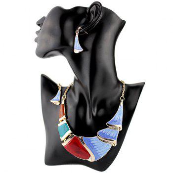 Faux Gem Boho Geometrical Statement Necklace Set - BLUE BLUE