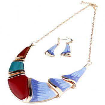 Faux Gem Boho Geometrical Statement Necklace Set -  BLUE