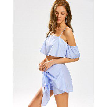 Cold Shoulder Stripe Crop Top with Knotted Shorts - WINDSOR BLUE S