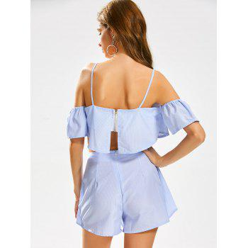 Cold Shoulder Stripe Crop Top with Knotted Shorts - WINDSOR BLUE WINDSOR BLUE