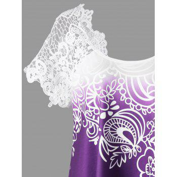 Plus Size Lace Panel Raglan Sleeve Floral Top - CONCORD 2XL