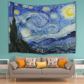 Wall Hanging Watercolor Space Throw Tapestry - BLUE W71 INCH * L91 INCH