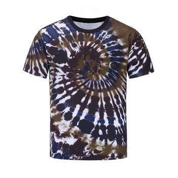 Color Block Spiral Tie Dye Print Short Sleeve T-shirt