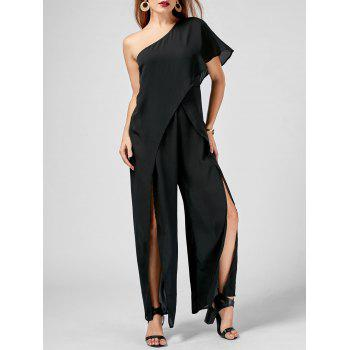 One Shoulder High Slit Chiffon Jumpsuit