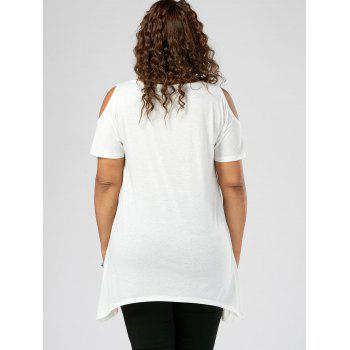 Plus Size Cold Shoulder Splatter Paint T-shirt - 2XL 2XL