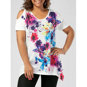 Plus Size Cold Shoulder Splatter Paint T-shirt - WHITE 5XL