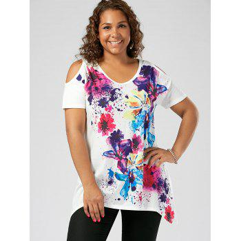 Plus Size Cold Shoulder Splatter Paint T-shirt - WHITE 2XL