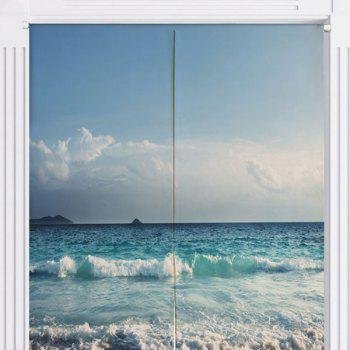 Cotton Linen Home Door Curtain with Sea Beach Print - BLUE BLUE
