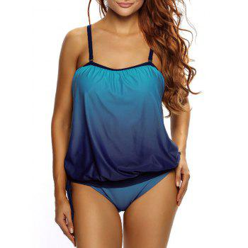 Ombre Cross Back Tankini Set - Bleu L