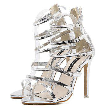 Belt Buckle Stiletto Heel Zip Sandals -