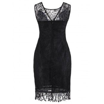 Sleeveless Fringe Lace Dress - BLACK 2XL