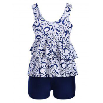 Plus Size Flounce Printed Tankini Swimwear - BLUE 5XL
