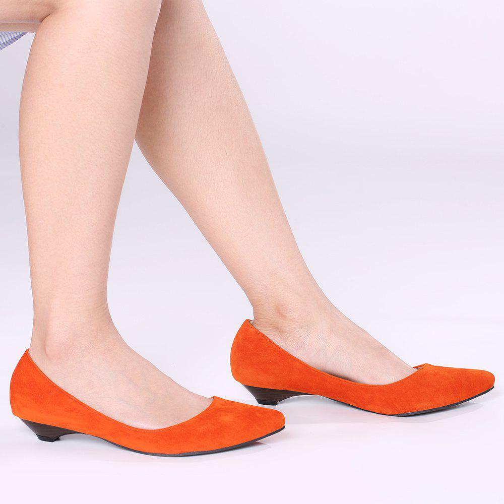 Basic Pointed Toe Low Heel Pumps - ORANGE YELLOW 39