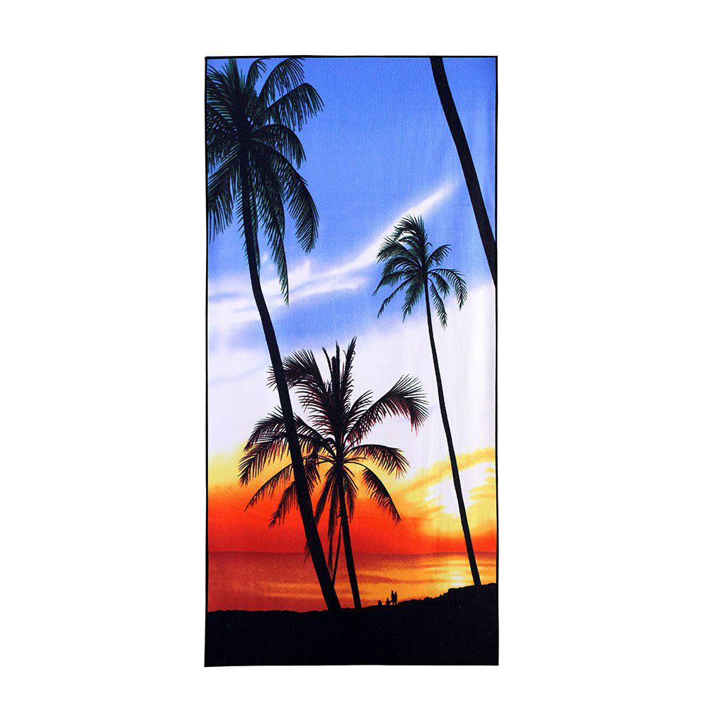Tropical Coconut Tree Beach Printed Soft Bath Towel - BLUE W15.5 INCH * L67 INCH
