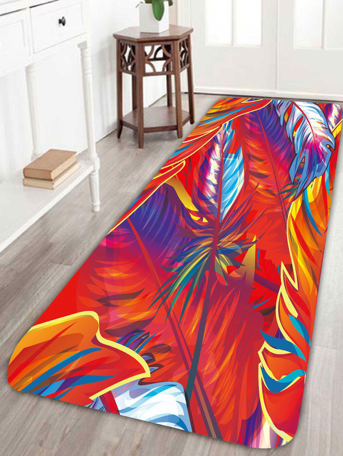 Feather Print Skidproof Bath Rug - RED W16 INCH * L47 INCH
