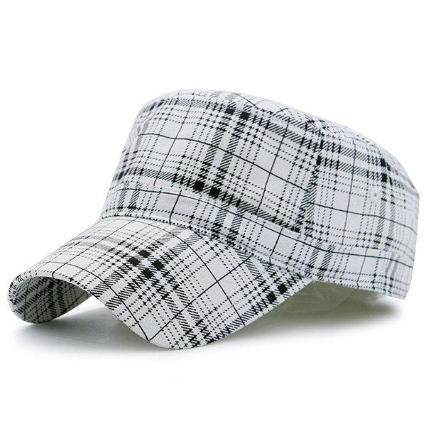 Flat Top Plaid Military Hat military hat flat cap m177