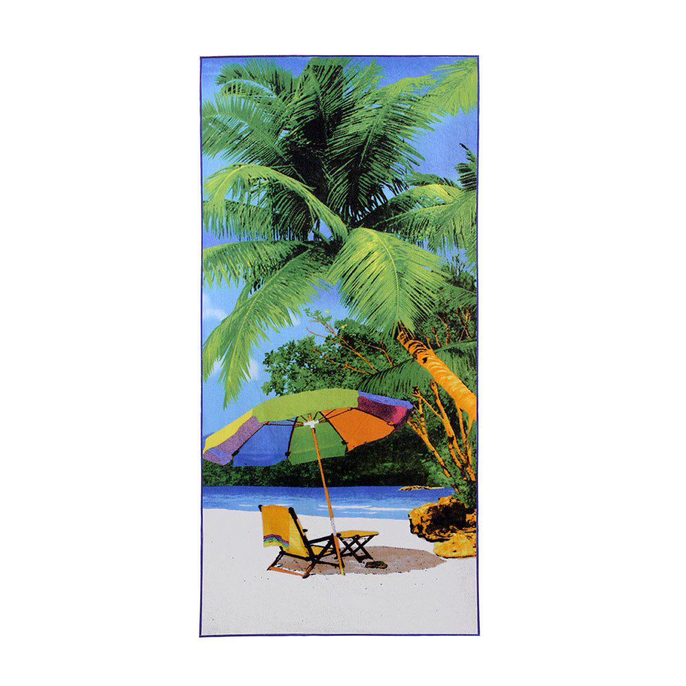 Ocean Beach Pattern Polyester Soft Bath Towel - GREEN W15.5 INCH * L67 INCH