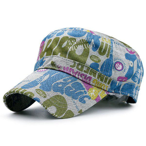 Flat Top Graffiti Letters Printed Military Cap - BLUE/WHITE