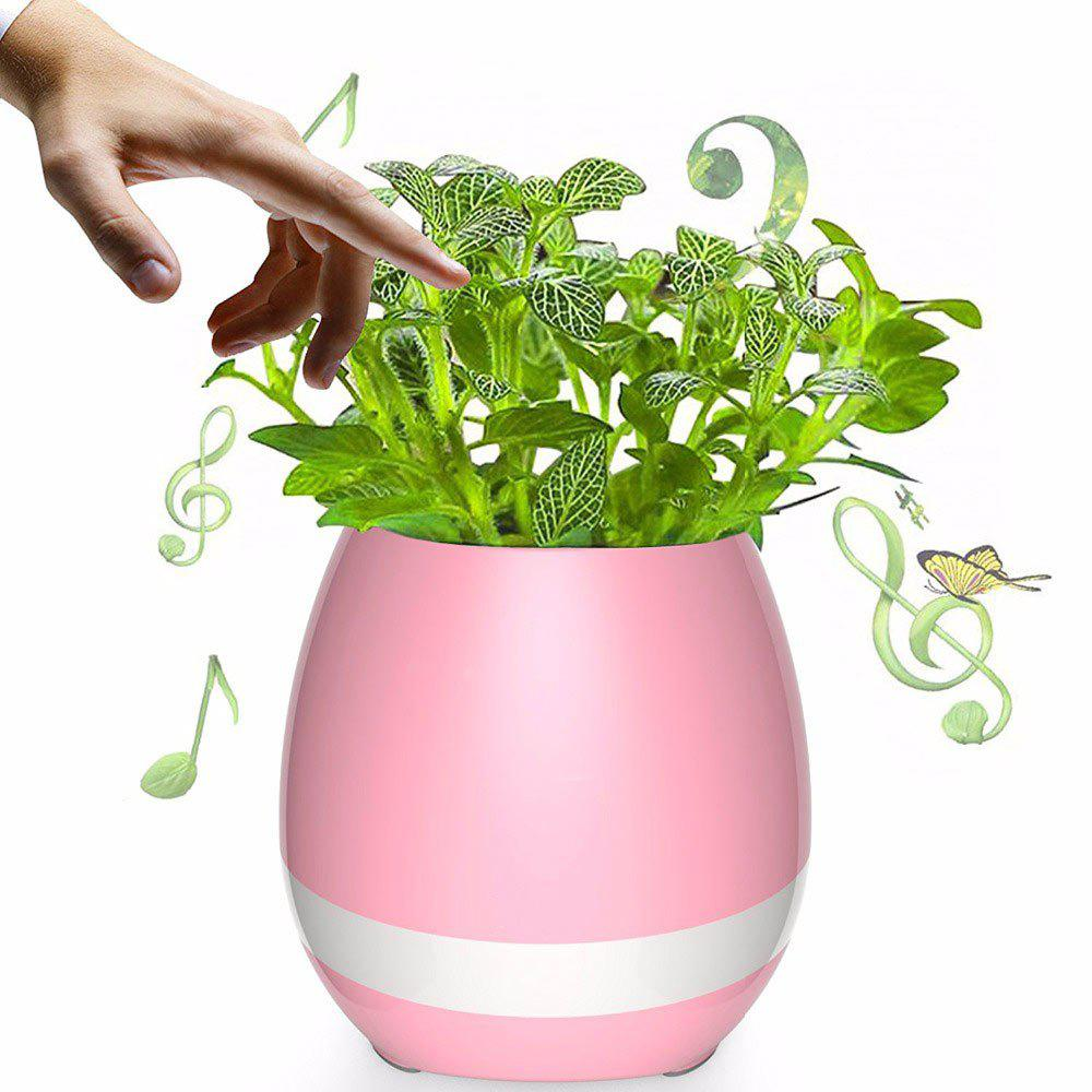 Colorful Night Light Haut-parleur Bluetooth Music Flower Pot - Rose