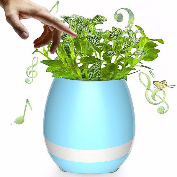 Colorful Night Light Bluetooth Speaker Music Flower Pot - BLUE