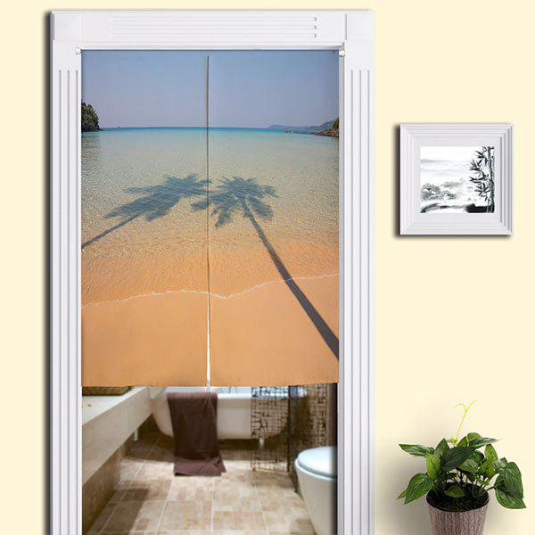 Tree Shadow Beach Bathroom Decor Door Curtain   SAND YELLOW W33.5 INCH * L47
