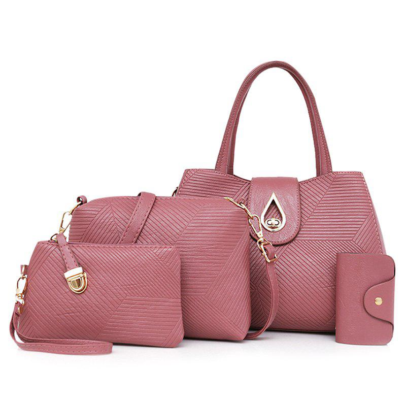 Line Embossed 4 Pieces Handbag Set - ROSE PÂLE