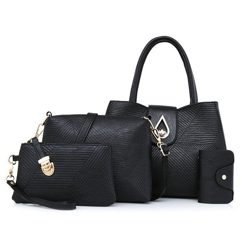 Line Embossed 4 Pieces Handbag Set - Noir