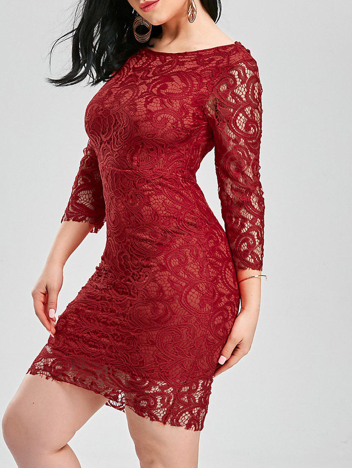 Slash Collar Backless Cut Out Lace Dress - Rouge L