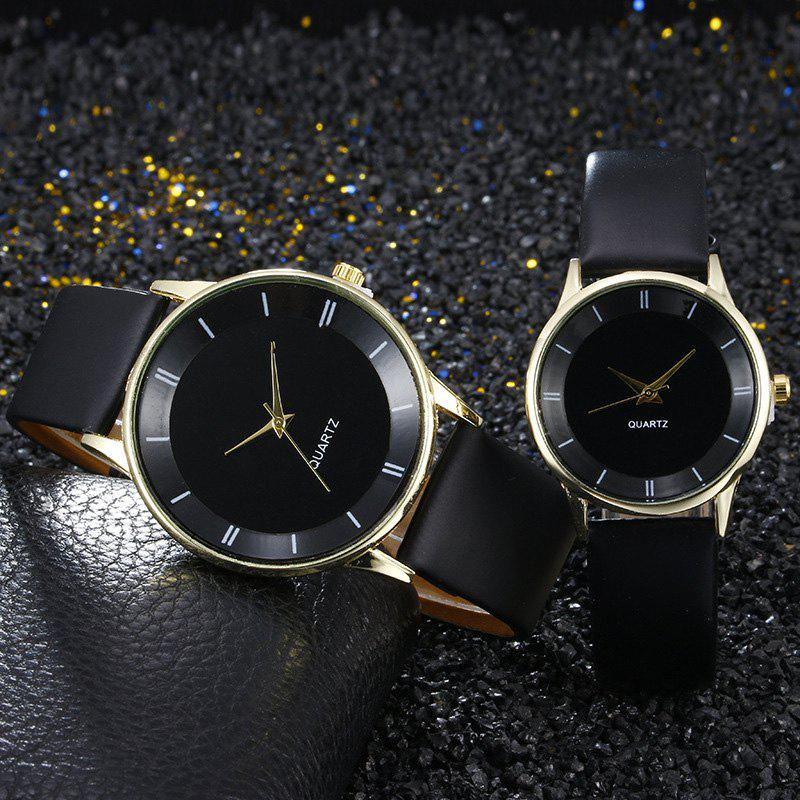 Minimalist Faux Leather Couple Watches - NOIR OR