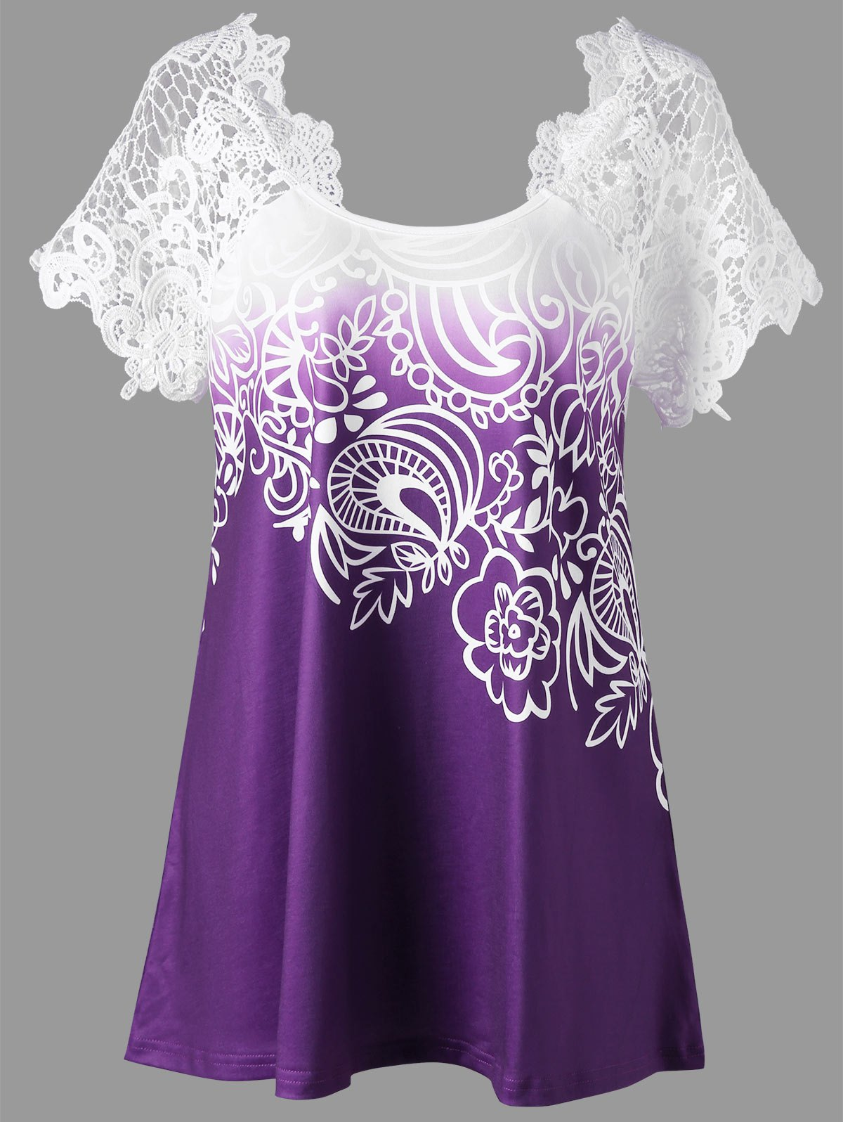 Plus Size Lace Panel Raglan Sleeve Floral Top, Concord