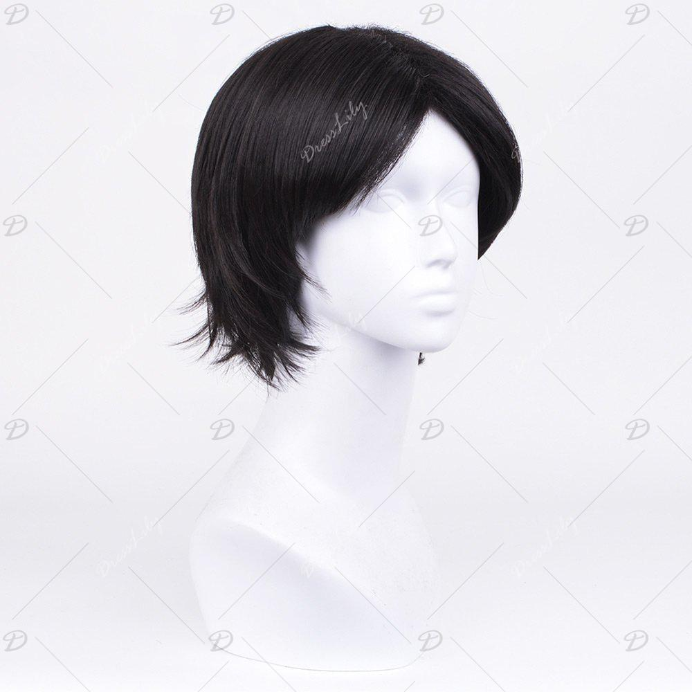 Short Middle Parting Straight Synthetic Wig - BLACK