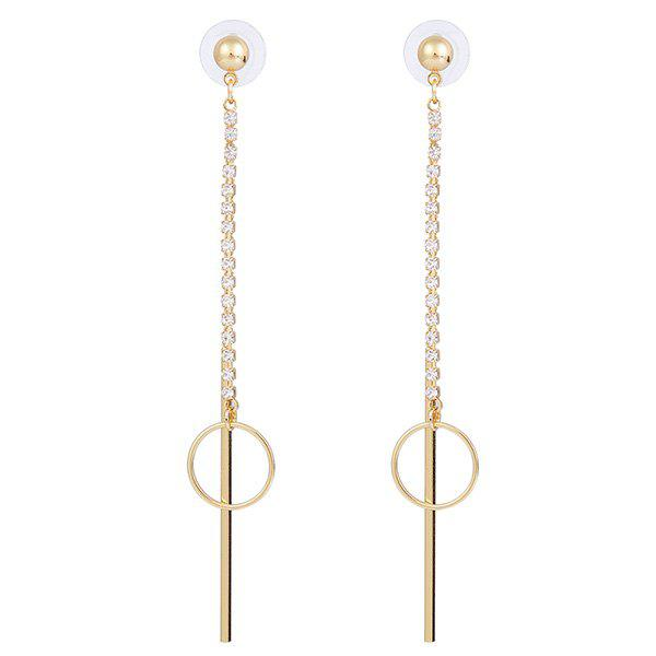Stick Circle Rhinestone Link Chain Drop Earrings - GOLDEN