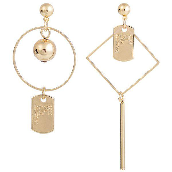 Geometric Asymmetrical Letters Engraved Drop Earrings - GOLDEN