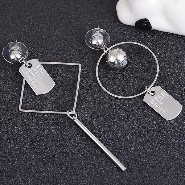 Geometric Asymmetrical Letters Engraved Drop Earrings - SILVER
